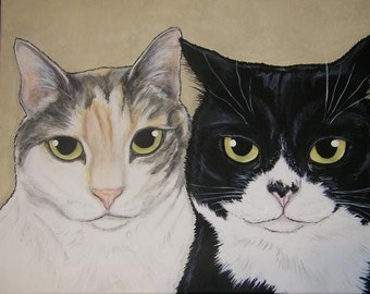 Multiple Pet Portrait Painting 11x14 - Custom Painted, cat, dog, animal, pet love, gift, pet memorial, two pets