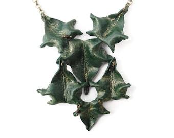 Ivy Leaf Bib Leather Necklace - CLUSTER - Handcrafted leaves green statement woodland wedding Etsy UK OOAK unique