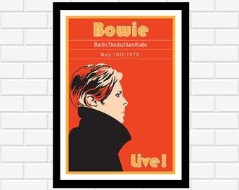 David Bowie Inspired Poster - concert poster - gig poster - band poster - music poster- album art - music gift