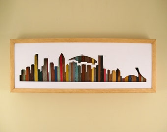"""Montreal Skyline - 24"""" by 8"""" Recycled Wood Silhouette Wall Art"""