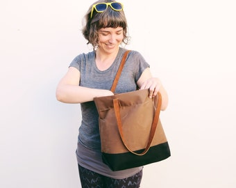 Portsmith Waxed Canvas + Leather Tote with Envelope Base, Canvas Tote, Market Bag, Carry All, Leather Handles,  Tote Bag, Canvas & Leather