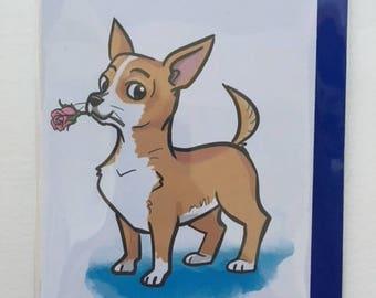 Chihuahua Rose Card