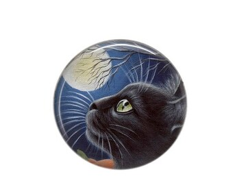 Round cabochon resin 25mm Chat Noir 07