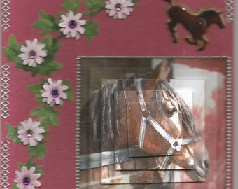 Animals, 3d, pyramid shape card, handmade, category horses - birthday, riding competition, carousel, horses, flowers