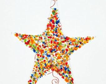 Glassworks Northwest - Rainbow Sprinkle Star  - Fused Glass Suncatcher or Ornament