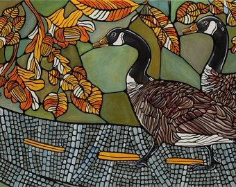 Bird Art Print. Canadian Geese Art Print Green Autumn Illustration, 5x7 Digital Print Geese Crossing a Street