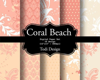 Coral Beach-  INSTANT DOWNLOAD  Digital Paper Set