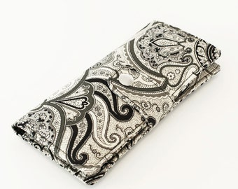 Cell Phone Wallet, Womens Clutch Wallet, Fabric Checkbook Case, Credit Card Clutch, Travel Passport Wallet - Black and Grey Paisley