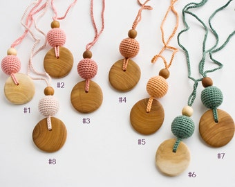 Pure Silk & Wood Teething Necklace   Nursing Necklace   Mom Necklace   Breastfeeding   Teething Beads   New Mom Gift   NP18-NP23