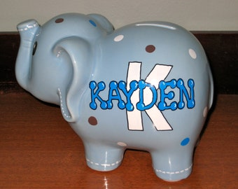 Personalized Ceramic Elephant Bank
