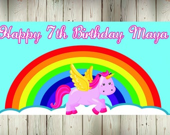 """18""""x36"""" Rainbow Unicorn Personalized Party Banner"""
