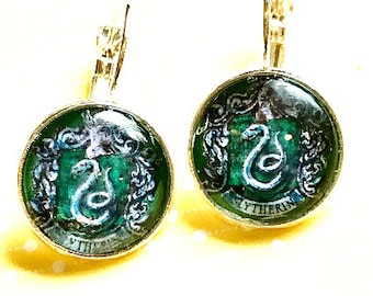 Harry Potter Slytherin cabochon earrings- 16mm