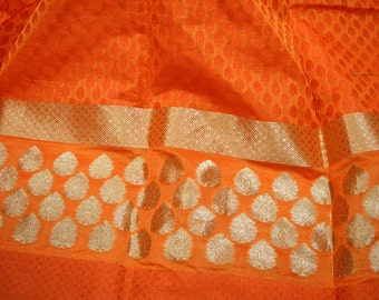 Orange Indian Chanderi Silk brocade, dress fabric Crafting fabric sewing fabric, Indian silk brocade fabric by the yard, costume fabric