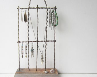 Rustic Earring / Bracelet / Necklace Display - Jewelry Organizer - Jewelry Storage - Recycled Antique Wire Fence - Quantities Available