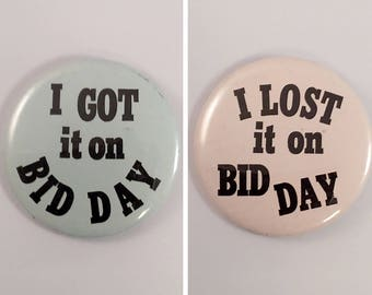 Set of Two (2) Vintage BID DAY Pinback Pin Back Buttons Fraternity Sorority 1970's