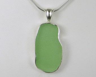 Seafoam Green Sea Glass Bezel Pendant necklace Maine