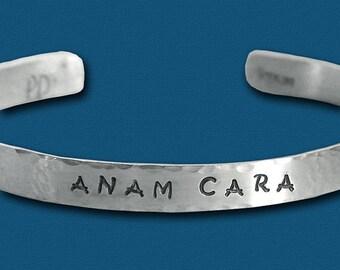 Anam Cara Hand Stamped Cuff Bracelet - One Quarter Inch - Anam Cara Jewelry - Bestie Gift