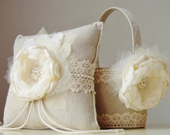 Flower Girl Basket, Ring Bearer Pillow, Wedding, Flower Girl Basket and Ring Bearer Pillow