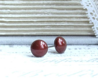 Burgundy Pearl Earrings Burgundy Studs Swarovski Pearl Earrings Surgical Steel Burgundy Pearl Studs