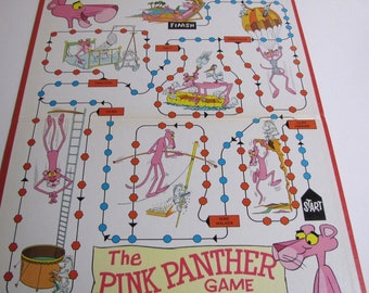 Vintage Game Board, Gameboard, Vintage PInk Panther Gameboard, 1969, Wall Art, Gameroom, Collectibles, Replacement, Nostalgia, Replacement