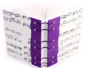Music Journal - handmade by Ruth Bleakley - Purple - 160 Page Unlined Journal