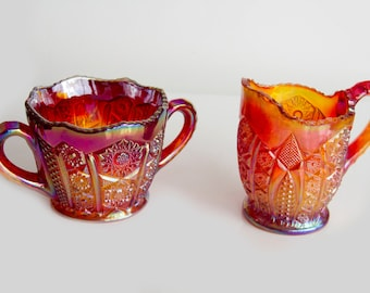 Indiana Glass, Red Carnival Heirloom Paneled Daisy creamer and sugar bowl