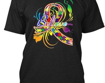 Autism Believe Hanes Tagless Tee Tshirt