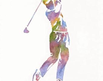 Golf Print, Sports Decor,  Golf Gift Men, Golf Decor, Father Gift,  Dad Gift, Golf Painting, Golf Wall Decor, Golf Watercolor, Golf Wall Art