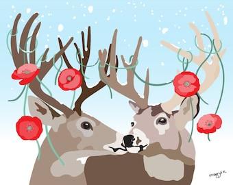 Woodland Nursery Art print - The Reindeer Couple - woodland decor,  baby art, Deer print, Jungle Nursery Wall Art Print, deer couple print