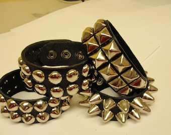 "1-1/4"" - 32 mm Wide Genuine Leather studded Wristband with Two rows 1/2"" studs Made in USA bracelet Black Red White Pink"