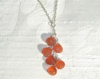 Carnelian Gemstone Cluster Sterling Silver Necklace, Orange Necklace, Drop Necklace, Cluster Necklace, Carnelian Necklace, Gift