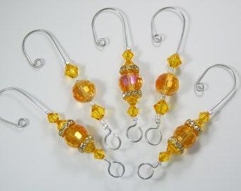Ornament Hangers. Ornament Hooks. Decorative Hangers. Decorative Hooks. Glass Beads. Swarovski Crystals