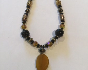 Amber and Black Single Drop Necklace