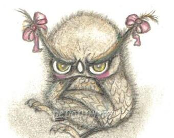 Grumpy Owl ---Print 5 x 7 cute Halloween Art