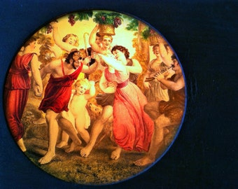 Magic Lantern Slide in Wooden Mount, Return From The Vineyard, Hand Colored
