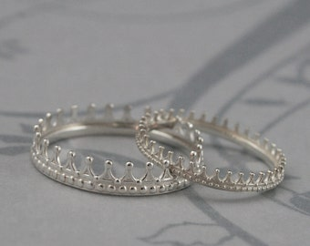 King and Queen Check Mate Crown Wedding Bands--His and Hers Wedding Rings--Solid Sterling Silver Wedding Band Set--Made to Size--Crown Ring