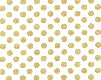 Metallic Gold Small Dots on White Fabric - Spot On from Robert Kaufman. New Years or Christmas - 100% cotton.  EZCM-12872-303 Blanc