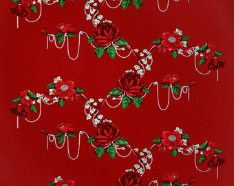 Tablecloth burgundy white red flowers Scandinavian table decor , napkins , runner , pillow , curtains  available, great GIFT