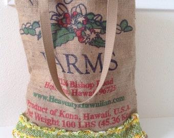 Kona Coffee Burlap Market Tote/ Beach Bag/ Handbag/ Burlap Bag