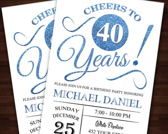 Cheers to 40 years Birthday invitation 40th, Printable 40th birthday decor, Cheers to 40 years birthday invitation, Birthday party #102