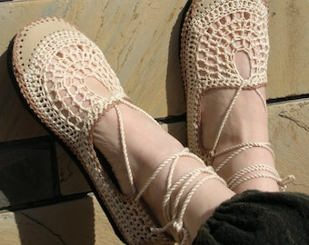 Lace up crochet SHOES - Mary Jane - Tan & Beige - BEACH WEDDING - custom made - Hippie boho footwear