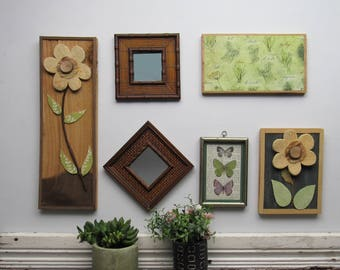 "wall gallery - ""Herbs and Flowers""- 6 pc vintage  wall art with mirror- feng shui"