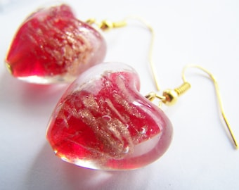 Maraschino Cherry - Glass Heart Earrings - FREE SHIPPING WAI - red glass hearts with gold glitter sand - Spring - love Valentines Day