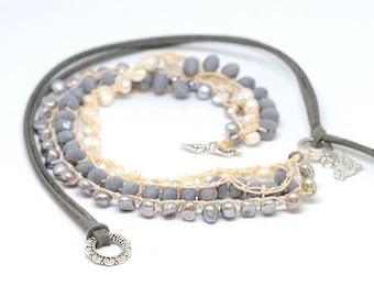 Crochet necklace boho chic with alcantara, freshwater pearls and Czech crystals - gift for her - Mother's Day
