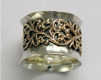 Gold Lace ring, Twotone Wide band, silver gold ring, oxidised band, yellow gold lace, filigree ring, wide silver gold band - Misty - R1146Z