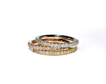 18k Pave Diamond Eternity Stacking Band/ Ring