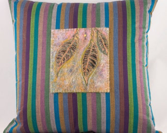 Pillow - Home Decor - Throw Pillow - Decorative Pillow - Needle Felted - Art Pillow - Striped - Teal, Purple, Mauve and Green - OOAK,