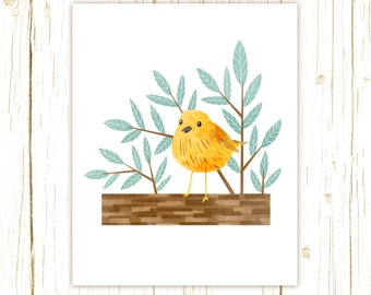 Yellow Warbler Print -- bird art -- yellow bird art 52 birds stephanie fizer coleman illustration