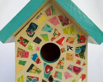 mosaic decoupage birdhouse