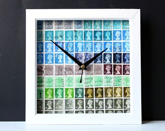 Stamps Wall Clock - British Stamps Clock - Postal Stamps Postage Stamps Collage Clock - Blue and Green Clock - Recycled Stamps - SquareClock